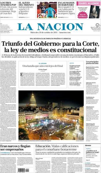 政府勝出 最高法院宣布《傳媒法》未違憲(20131030 阿根廷國家報)