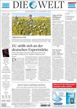 德國出口太強勢 歐盟將抑制(20131114 德國世界報)