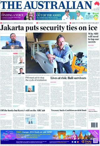 印尼澳洲關係降至冰點(20131121 澳洲人報)