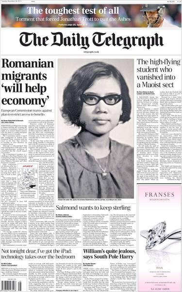 羅馬尼亞移民有助經濟成長(20131126 每日電訊)