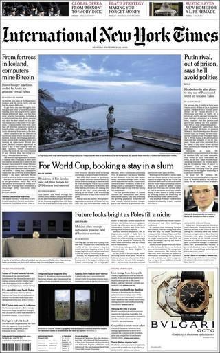 里約貧民窟套房提供世界盃粉絲出租(20131223 紐約時報國際版)