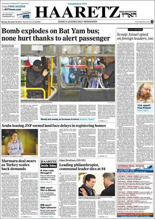 以色列驚傳巴士炸彈攻擊 乘客機警逃生(20131223 以色列國土報)