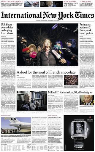 俄國龐克女子樂團兩名成員出獄(20131224紐約時報國際版)