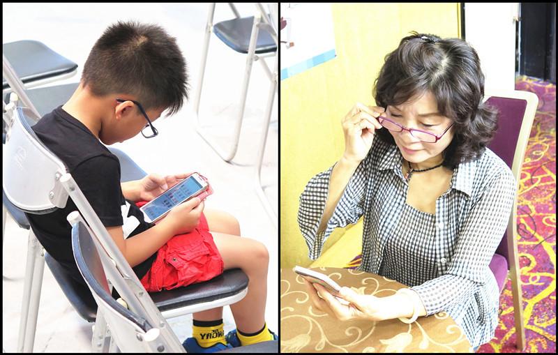 眼科醫師表示,國內「低頭族」不分老幼、近視率冠於全球,白內障更提早報到。(photo by李昀澔/台灣醒報)