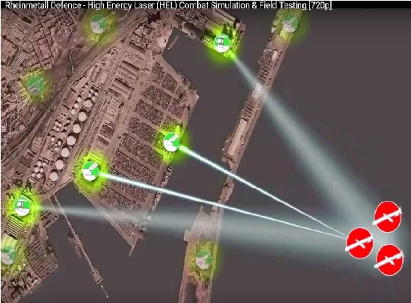 德國Rheinmetall公司展示的S7-110雷射武器系統,可以防範巡弋飛彈來襲。(翻攝自youtube)