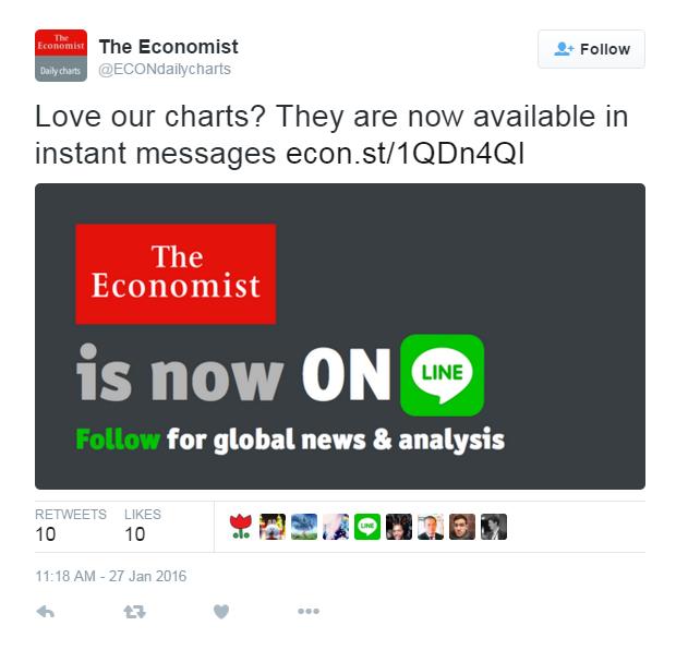 《經濟學人》雜誌在推特上發動態,宣布要辦Line的官方帳號。(photo by 經濟學人推特截圖)