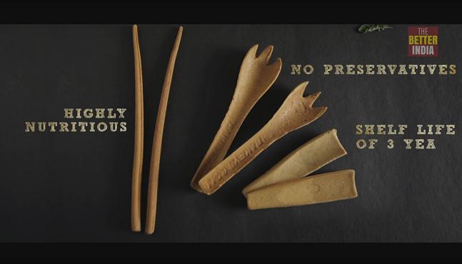 印度發明家研發出美味、健康又環保的可食用餐具。(photo by thebetterindia youtube截圖)