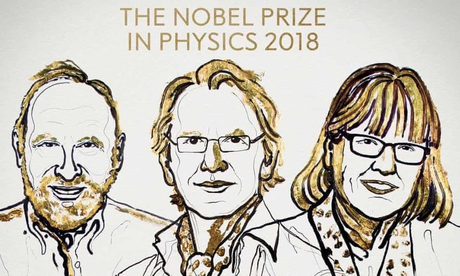 2018年諾貝爾物理學獎3位得主:亞瑟‧阿許金(Arthur Ashkin,美國籍)、傑哈爾‧莫戶(Gérard Mourou,法國籍),以及唐娜‧史崔克蘭(Donna Strickland,加拿大籍)(photo by NobelPrize.org)