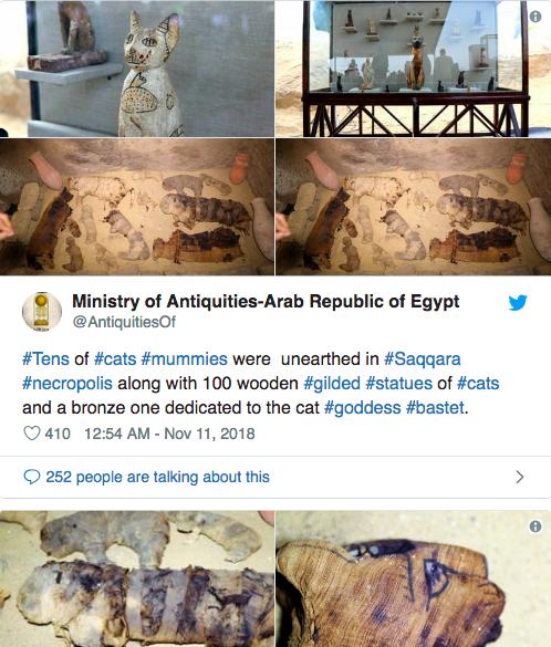 近期考古學家挖出木乃伊貓與木質貓雕,被認為是埃及人崇拜動物的做法。(photo by 網路截圖)